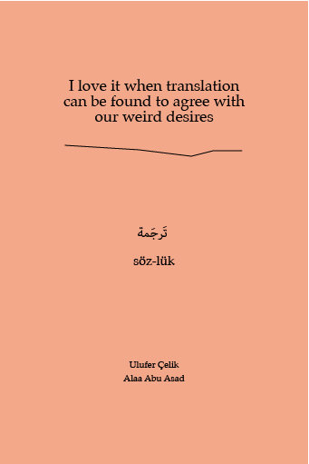 Ulufer Çelik & Alaa Abu Asad: I love it when translation can be found to agree with our weird desires